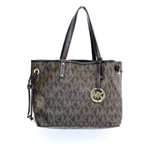 Michael Kors Reversible Snake Print Gold Hardware Tote in Brown