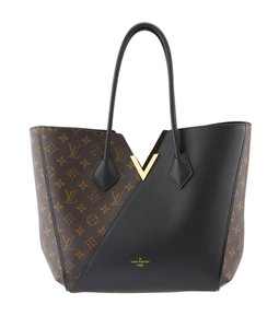 Louis Vuitton Brown & Black Canvas Leather Tote in Brown,Black
