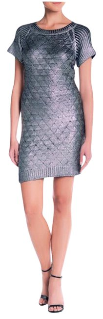Item - Silver Party Mid-length Cocktail Dress Size 6 (S)