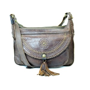 Patricia Nash Designs Distressed Leather Chocolate Cross Body Bag