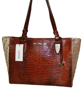 Brahmin Croco Emb Leather Arno H13858 Tote in Brown
