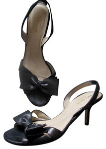 Kate Spade Shiny Suede Large Bow Black Sandals