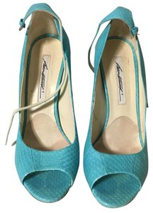 Brian Atwood turquoise blue snakeskin Pumps