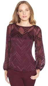 White House | Black Market Cold Silk Romantic Night Out Burnout Top Port (Burgundy)