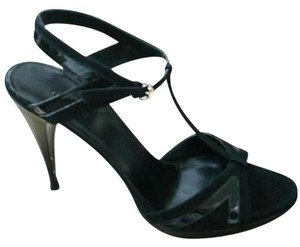 Gucci Suede Patent Leather Black Sandals
