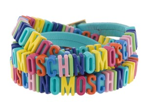 Moschino Blue leather Moschino multicolor logo letter charms wrap bracelet