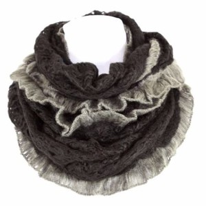 Other B13 Two Tone Black & Gray Ruffle Soft Knit Infinity Scarf