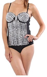 Nasty Gal Lydia USA Bodysuit Top Black and Silver