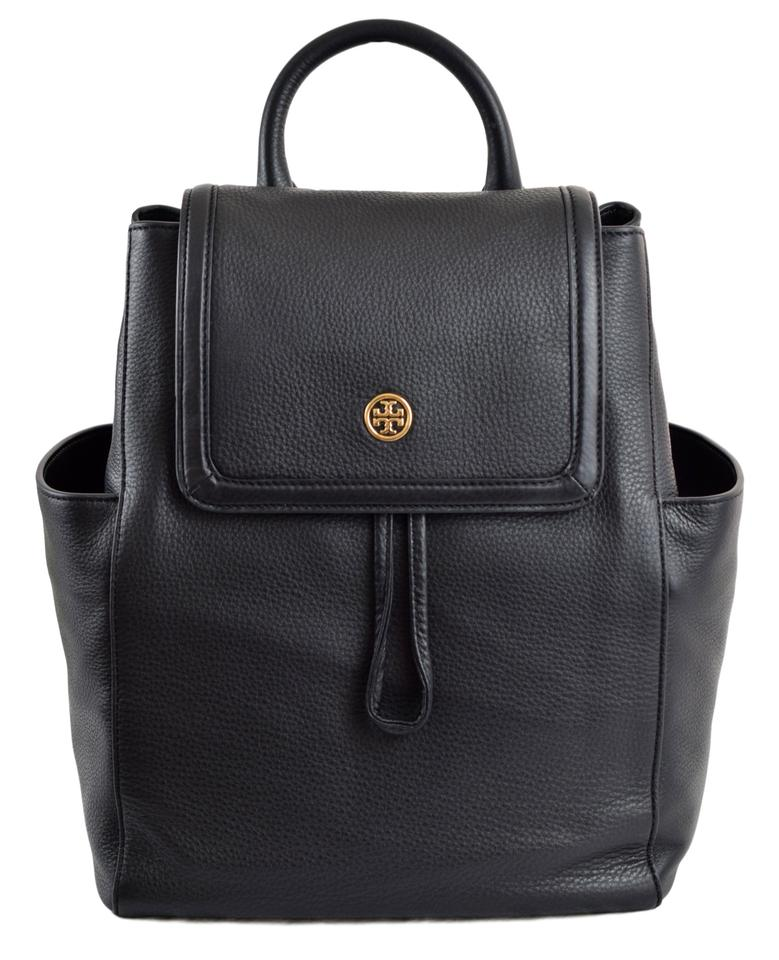 975ccde92e90 Tory Burch Landon Pebbled Flap - Black Leather Backpack - Tradesy