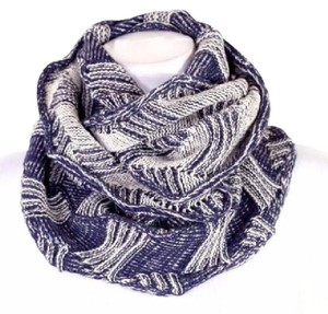 Other B14 Navy Blue & Off White Scalloped Edge Geometric Knit Infinity Scarf