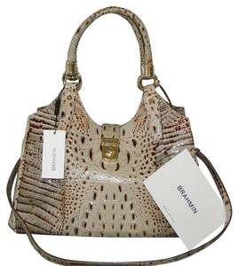 Brahmin Elisa Leather Croco Brown Satchel in Brulee