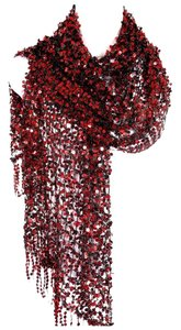 Other B157 Full Sequin Open Weave Red & Black Fringe Scarf Shawl Wrap Boutique $145