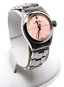 Rolex Rolex Oyster Perpetual Circa 1961 Stainless Steel Pink Face w/Dots