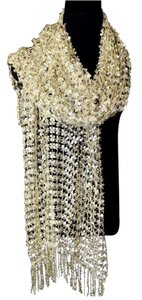 Other B157 Full Sequin Open Weave Gold Fringe Scarf Shawl Wrap Boutique $145