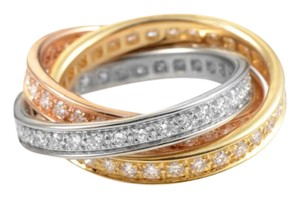 Cartier Cartier Trinity Diamond 18 Karat Yellow, White, Rose Gold Band Ring