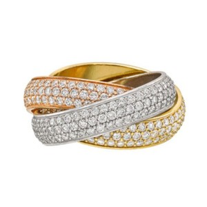 Cartier Cartier Trinity Pave Diamond 18 Karat Tri-Color Gold Ring Size 6
