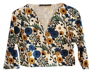 Zara Floral Print V-neck Evening Crop T Shirt Cream, black, green, blue, mustard