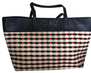 Tory Burch Tote in Navy trim, navy, red, tan & cream body