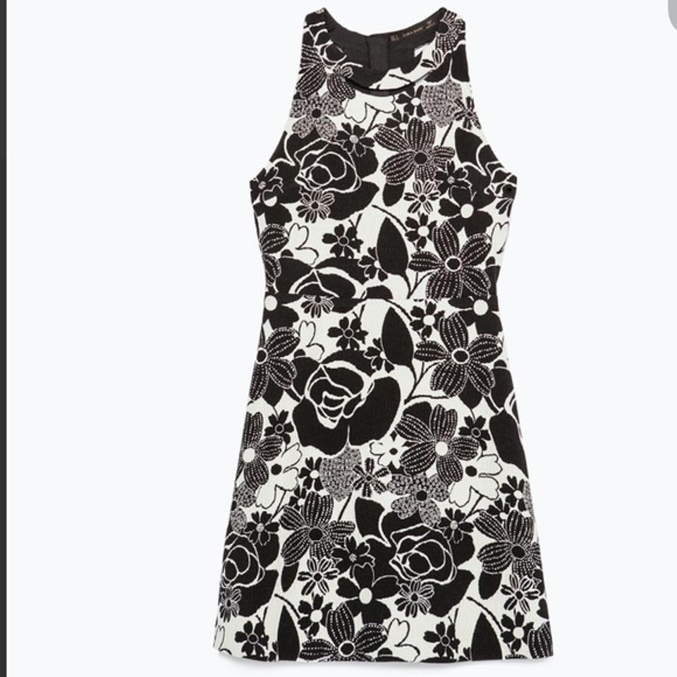 Zara Black W Off White Flower Party Large Mid Length Cocktail Dress