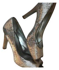 Martinez Valero Sequin Silver Pumps