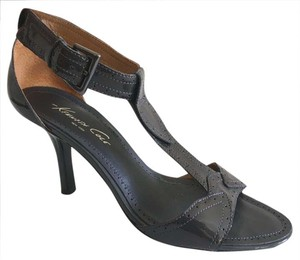 Kenneth Cole Patent Leather Strap Buckle Gray Charcoal Gray Pumps