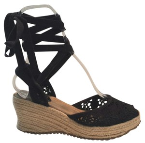 Mudd Lace Up Ballerina Retro Mod Hippie Black Sandals