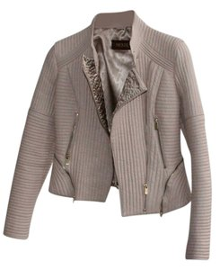 Voux Zipper Biker Leather Coat Beige Cream, Powder-Beige Leather Jacket