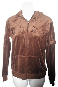 BCBGMAXAZRIA Logo Embroidered Hoodie Brown Jacket