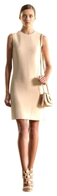 Item - Beige W Backless Shift W/Leather Strap 38 255187 Mid-length Short Casual Dress Size 2 (XS)