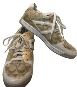 Coach Sneakers Tennis White,Tan, Gold Athletic