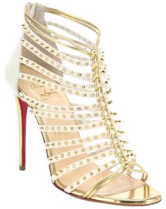 Christian Louboutin Studded Detail Millaclou Cage 4 Inch Heel White/Gold Sandals