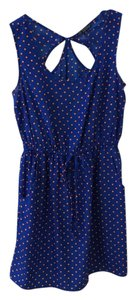 BeBop short dress royal blue with orange polka dots on Tradesy