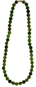 Jade Beaded Necklace 51 Jade Beads made into a Necklace with Gold Tone Clasp