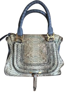 Chloé Marcie Chloe Satchel in Snakeskin and Navy Blue