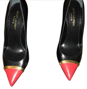 Saint Laurent Black with red toe cap and trim of gold Pumps