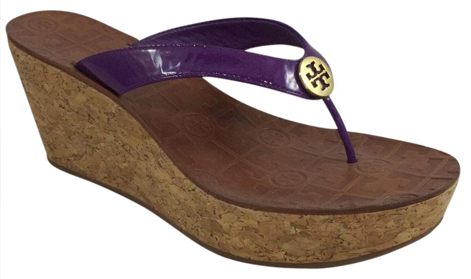 a844d32e4 Tory Burch Purple Thong Patent Cork Sandals Size US 10 Regular (M