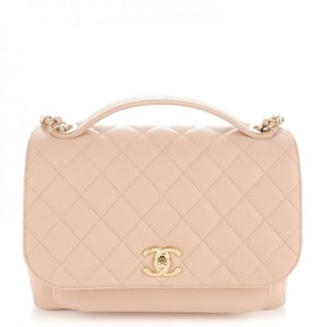 Chanel Business Affinity Beige Caviar Flap Cross Body Bag