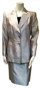 Escada Silver Silk Embroidered Jacket with Skirt