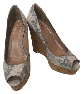 Vince Camuto Sparkle Glitter Silver White Wedges