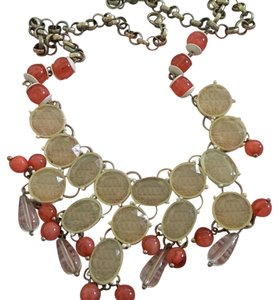 Nordstrom orange and clear beaded necklace