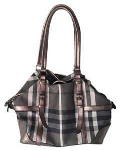 Burberry Plaid Shimmer Satchel in Grey and Beige