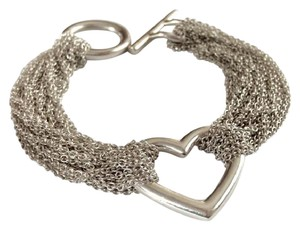 Tiffany & Co. Authentic Multi Chain Heart Bracelet With Toggle Clasp Sterling Silver