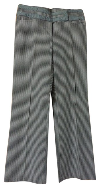 Nanette Lepore Striped Size 6 Straight Pants Gray Image 0