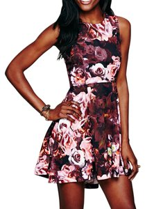 shakuhachi short dress Pink Floral Printed Fit And Flare Swing on Tradesy