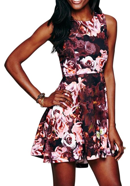 Item - Pink XS Printed Flower Bomb Kick Out Swing New Short Casual Dress Size 2 (XS)