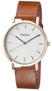 SKNY SKNY Men's SK1001 Gold and Brown Genuine Leather Watch