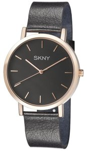 SKNY SKNY Men's SK1001 Gold and Black Genuine Leather Watch