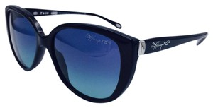 Tiffany & Co. Cat Eye Signature Black Sunglasses w/ Gradient Blue Lens TF 4082