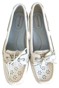 Sperry Floral Leather Boat White Flats
