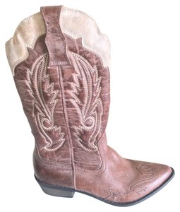 Coconuts Western Cowboy Midcalf Distressed Chocolate/Beige Boots